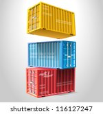 a stack of three sea freight... | Shutterstock .eps vector #116127247