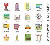 set of 16 icons such as arch ...