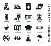 set of 16 icons such as rain...