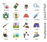 set of 16 icons such as panels  ...