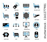 set of 16 icons such as price...