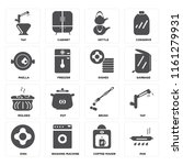 set of 16 icons such as pan ...