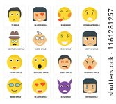 set of 16 icons such as crying...