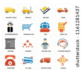 set of 16 icons such as global  ...