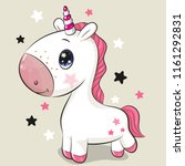 cute cartoon unicorn isolated... | Shutterstock .eps vector #1161292831