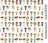 illustration of kids on a white ... | Shutterstock .eps vector #116130355