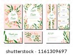 wedding card templates set with ... | Shutterstock .eps vector #1161309697