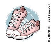 a pair of pink sneakers... | Shutterstock .eps vector #1161312034