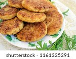 homemade cutlets with fresh... | Shutterstock . vector #1161325291