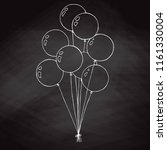 group of balloons on a string.... | Shutterstock .eps vector #1161330004