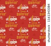 surfing car pattern. vintage... | Shutterstock .eps vector #1161343384