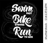 triathlon hand drawn lettering  ... | Shutterstock .eps vector #1161351694