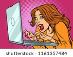 woman typing on laptop keyboard.... | Shutterstock .eps vector #1161357484