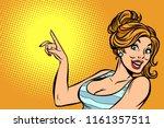 woman pointing finger. comic... | Shutterstock .eps vector #1161357511