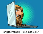 woman peeking out of laptop.... | Shutterstock .eps vector #1161357514