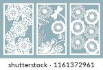 Stock vector set stencil frames with leaves dragonfly berry and flowers template for interior design 1161372961