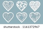 set stencil hearts with flower. ... | Shutterstock .eps vector #1161372967