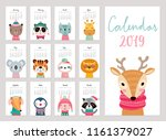 Stock vector calendar cute monthly calendar with animals hand drawn characters vector illustration 1161379027