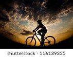 biker girl at the sunset on the ... | Shutterstock . vector #116139325