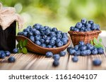 Blueberries Fruits In Wicker...