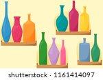bright bottles on shelfs ... | Shutterstock .eps vector #1161414097