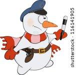 snowball the policeman. cartoon | Shutterstock .eps vector #116141905