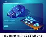 smart home technology web page... | Shutterstock .eps vector #1161425341