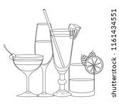 set cups cocktails icons | Shutterstock .eps vector #1161434551