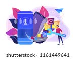 smart speaker with apps icons... | Shutterstock .eps vector #1161449641