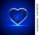 shiny valentine heart on blue.... | Shutterstock .eps vector #116146519