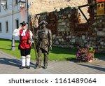 Small photo of ALBA IULIA, ROMANIA - JULY 23, 2018: Man in the uniform of a soldier of the Austrian guard patrols the streets in Fortress Of Alba Iulia, Transylvania, Romania.