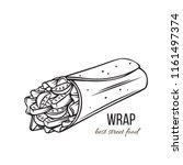 takeaway food. tortilla wraps... | Shutterstock .eps vector #1161497374