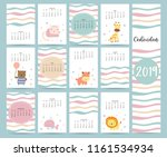 cute monthly calendar 2019 with ... | Shutterstock .eps vector #1161534934