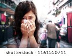 runny girl with crowded urban...   Shutterstock . vector #1161550711