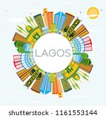 lagos nigeria city skyline with ... | Shutterstock . vector #1161553144