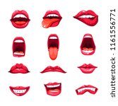 mouth lips and tongue smile... | Shutterstock .eps vector #1161556771