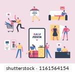 sale festa mobile app shopping... | Shutterstock .eps vector #1161564154