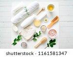 fresh herbs fruits and... | Shutterstock . vector #1161581347