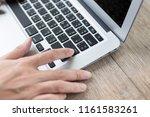 woman hand pressing a enter...   Shutterstock . vector #1161583261