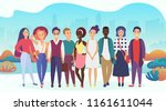 group of happy people or... | Shutterstock .eps vector #1161611044