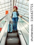 beautiful young girl traveler... | Shutterstock . vector #1161627721