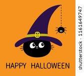 happy halloween. black cat head ...   Shutterstock . vector #1161649747