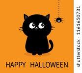 happy halloween. black cat...   Shutterstock . vector #1161650731
