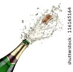 close up of champagne explosion | Shutterstock . vector #116165164