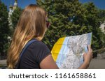a young girl tourist in... | Shutterstock . vector #1161658861