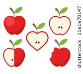 set of red apple fruit with... | Shutterstock . vector #1161670147