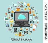 cloud storage data technology... | Shutterstock .eps vector #1161675697