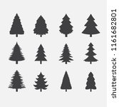 christmas tree silhouettes | Shutterstock .eps vector #1161682801
