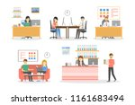 people at office working and... | Shutterstock . vector #1161683494
