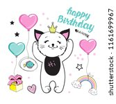card happy birthday with cat... | Shutterstock .eps vector #1161699967